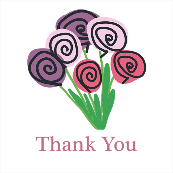 Large Flowers Thank You Greetings Card